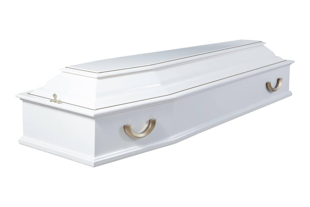 купить белый лакированный гроб